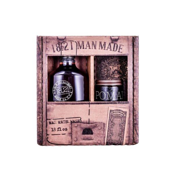 Zestaw prezentowy 18.21 Man Made Wash & Pomade | Sweet Tobacco w brązowym opakowaniu przedstawiony na białym tle