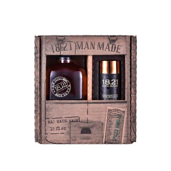 Zestaw prezentowy 18.21 Man Made Wash & Deodorant | Spiced Vanilla w brązowym opakowaniu przedstawiony na białym tle