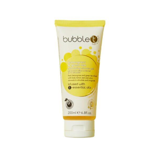 Bubble T - Żel pod prysznic | Trawa cytrynowa i zielona herbata w żółtym opakowaniu przedstawiony na białym tle