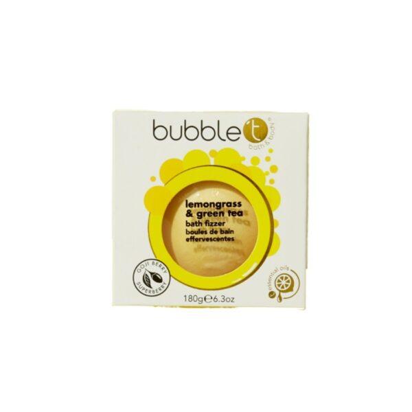 Bubble T Kula do kąpieli | Trawa cytrynowa i zielona herbata przedstawiona na białym tle