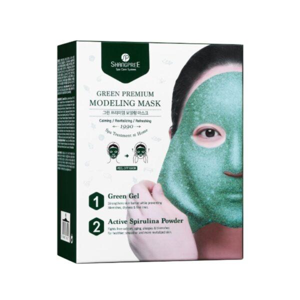 shangpree maska modelująca typu peel off ze śluzem ślimaka w zielonym opakowaniu przedstawiona na białym tle