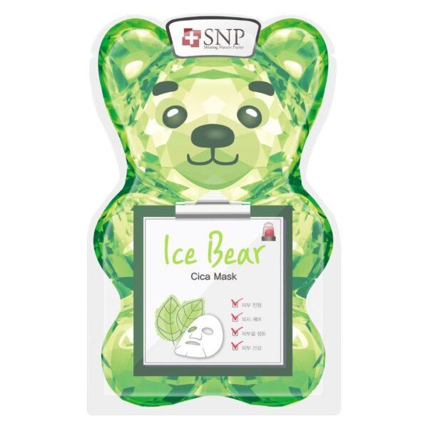 SNP Chłodząco-łagodząca maska w płachcie w kształcie misia w zielonym opakowaniu przedstawiona na białym tle