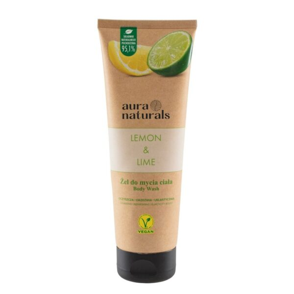 Aura Naturals Vegan Żel do mycia ciała z cytryną i limonką w tubie przedstawiony na białym tle