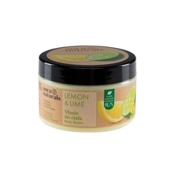 Aura Naturals Vegan Masło do ciała z cytryną i limonką w słoiczku z nakrętką przedstawiony na białym tle