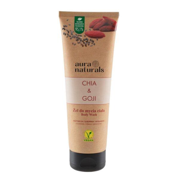 Aura Naturals Vegan Żel do mycia ciała z nasionami chia i owocami goji w tubie przedstawiony na białym tle