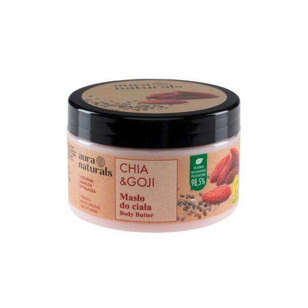 Aura Naturals Vegan Masło do ciała z nasionami chia i owocami goji w słoiczku z nakrętką przedstawione na białym tle