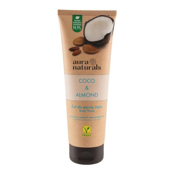 Aura Naturals Vegan Żel do mycia ciała z kokosem i migdałami w tubce przedstawiony na białym tle