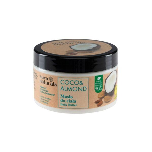 Aura Naturals Vegan Masło do ciała z kokosem i migdałami w słoiczku z nakrętką przedstawione na białym tle