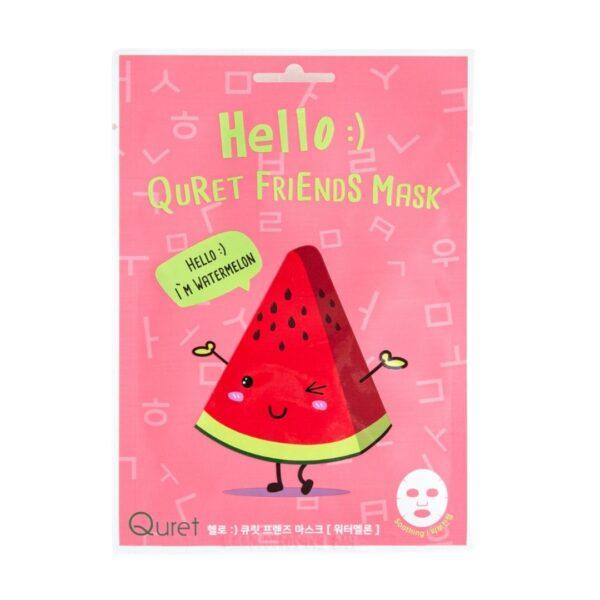 Quret Hello Friends Mask Watermelon - Nawilżająca maska w płachcie z ekstraktem z arbuza
